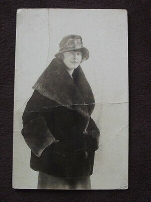 Woman Wearing A Fur, Vtg  Real Photo Advertising Postcard - New York