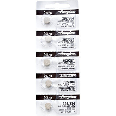 5 x Energizer 392 Watch Batteries, 0% MERCURY equivilate SR41SW or 384