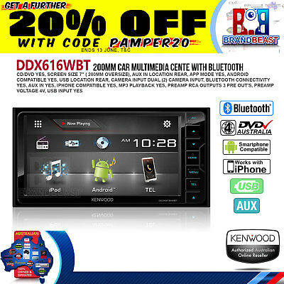 "Kenwood Ddx616Wbt 7"" Dvd Screen Bluetooth App Mode Android Iphone Toyota Direc"
