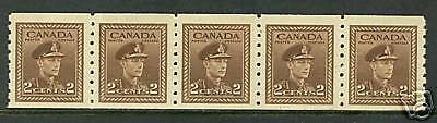 Canada   1942   Unitrade # 264  MNH Coil Strip of 5