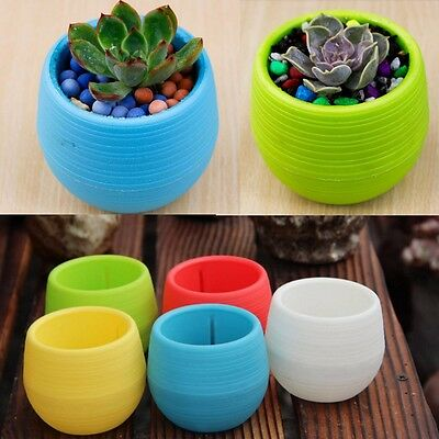 Cute Round Home Garden Office Decor Planter Plastic Plant Flower Pots