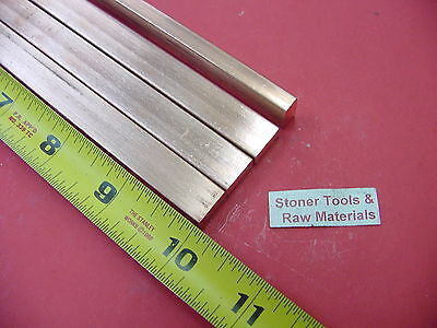 "4 Pieces 1/4""x 1/2"" C110 COPPER BAR 10"" long Solid Flat .25"" Bus Bar Stock H02"