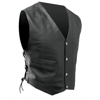 Rjays mens leather lace-up motorcycle vest black size XXL 2XL