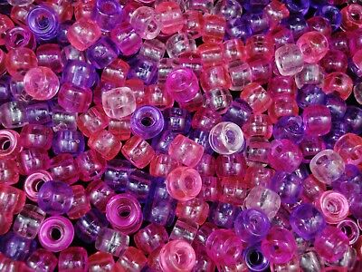 Pony Beads 9x6mm Transparent Pink/Purple Mix 500pc Bulk Pack Hair FREE POSTAGE