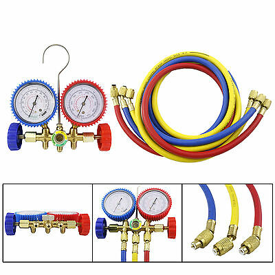 R12 R22 R502 Manifold Gauge Set HVAC Refrigeration Charging 5ft Hose