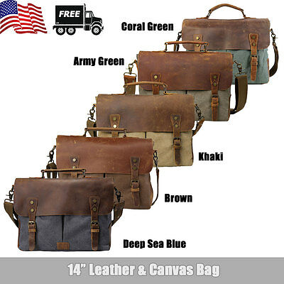 "Canvas Leather Briefcase CrossBody 14"" Laptop Men Shoulder Messenger Bag Satchel"