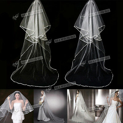 2.5M 2T Long White Ivory  Wedding Cathedral Length Veil With Comb Satin Edge