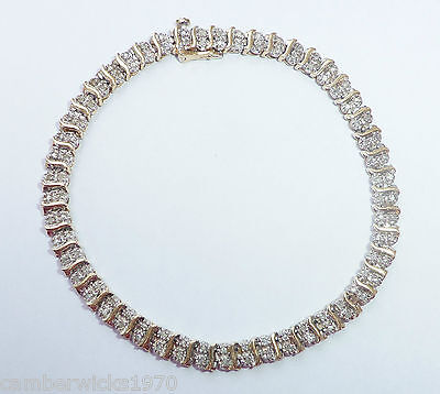 9ct Gold 1.00ct Diamond Two Row Tennis Bracelet, 7 1/2""