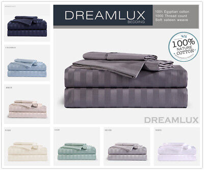 1000TC 100%Egyptian Cotton 4p flat, fitted stripe sheet set King Queen Double