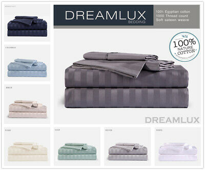 1000TC Egyptian Cotton Double,Queen or King Size Bed Sheet Set (Stripe).4 Pieces
