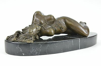Signed Nude Bondage Lady Bronze Sculpture Statue Figure Erotic Art Nouveau Decor