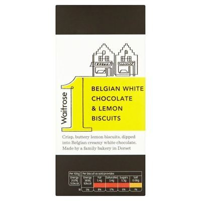 Belgian White Chocolate & Lemon Biscuits Waitrose 125g