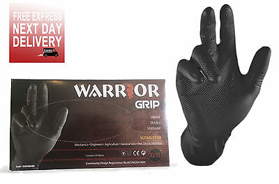 Nitrile Disposable Black Powder Free Work Gloves Fish Scale Grip Heavy Duty