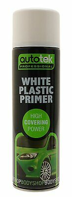 Autotek Professional White Plastic Primer Spray Paint 500ml - AT00PPW500
