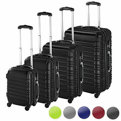Set of 4 piece travel luggage wheel trolleys suitcase bag ABS hard shell
