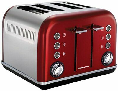 NEW Morphy Richards  242020 Metallic Red Accents 4 Slice Toaster