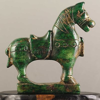 China old jade hand-carved statue of horse very fine