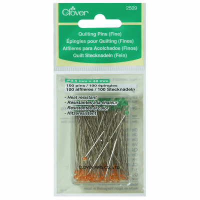 Quilting Pins by Clover - Pack 100 pins. Long, Sharp & Fine  0.5mm x 48mm long