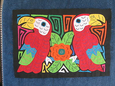 Kuna Tribe Quilt Mola Red Parrot Pair E.528
