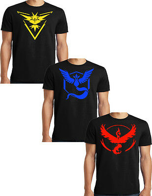 Pokemon Go Team Valor Team Mystic Team Instinct T-shirt S-6XL Big and Tall Tees