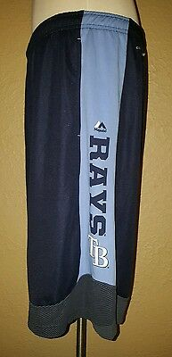 NEW Majestic MLB Tampa Bay Rays Dark Blue COOL BASE Athletic Shorts Mens Small