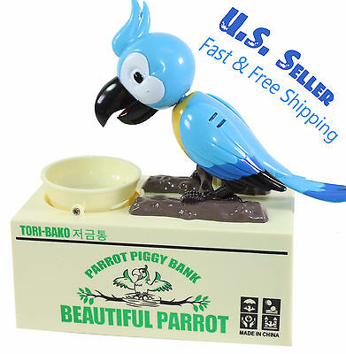 Automatic Parrot Piggy Bank Home Decor Gift US Seller