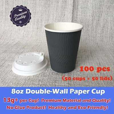 100pcs/50set 8oz Coffee Double Wall Grey paper cup+lid 13g+ Each Sale