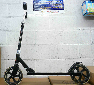 Aluminum Foldable Kick Scooter w Adjustable Height 200mm wheels Black
