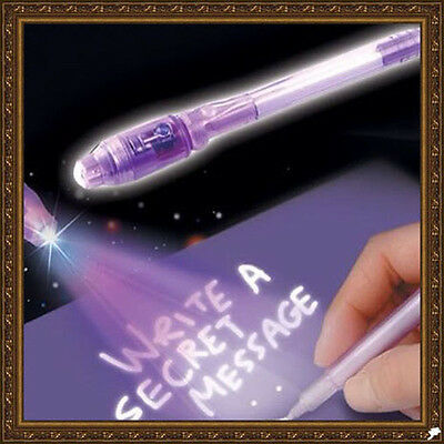 Purple 2 In 1 UV Black Light Combo Creative Stationery Invisible Ink Pen Useful