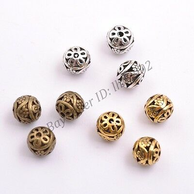 10Pcs Tibetan Silver Round Shaped Heart Hollow Charm Spacer Beads 12MM B3000
