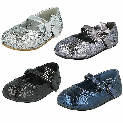 Sale Girls Spot On Flat Sparkly Glitter Party Bridesmaids Bow Shoes H2R305