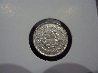 Great Britain 3 Pence 1942 Xf / Au Silver Coin # 963