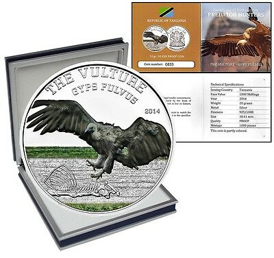 Tanzania 1,000 Shillings, 20 g Silver Proof Coin, 2014, The Vulture Gyps Fulvus