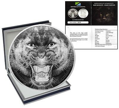 Tanzania 1,500 Shillings,2 oz Silver Proof Coin,2016,Rare Wildlife Black Panther