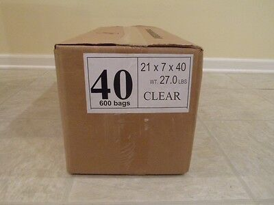 "Plastic Dry Cleaning Poly Bag Garment Bags 40"" Clear 600 BAGS"