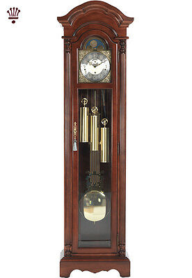 BilliB Berkeley Bonnet Top Long Case Grandfather Clock with Chimes in Mahogany