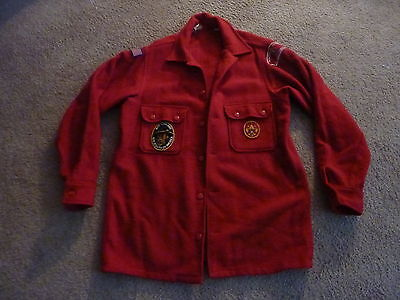 """Boy Scout Official RED WOOL JACKET Chest size 44""""  w/ Patches BSA 1950's (Lot#2)"""