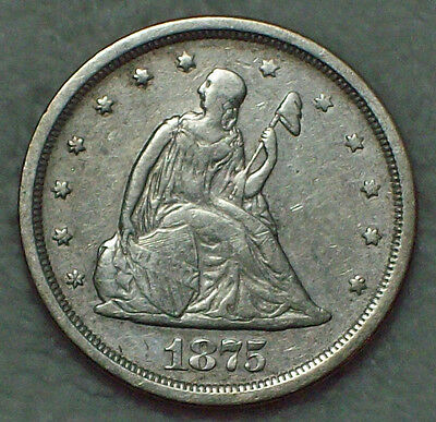 1875 S 20 Twenty Cent SILVER *RARE Die Marriage* XF Detailing BF-11 Variety R.3