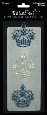 Bling Self Adhesive Rhinestone/Pearl Crowns 3/Pkg Blue BG19