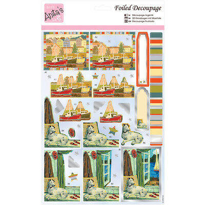 Anita's A4 Foiled Decoupage Sheet Harbourside A169644