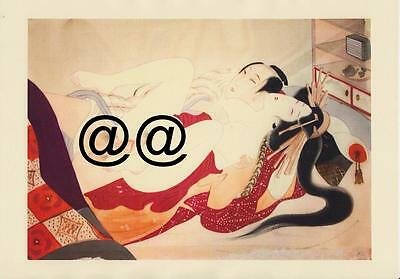 Japanese Reproduction Woodblock Print Shunga Style 3 Erotic  A4 Parchment Paper