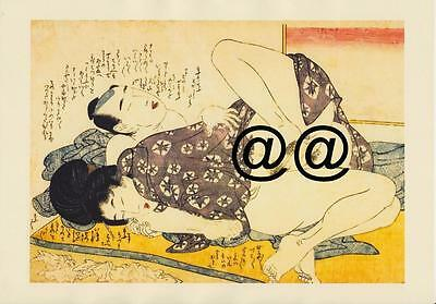 Japanese Reproduction Woodblock Print Shunga Style 4 Erotic  A4 Parchment Paper