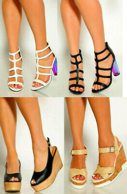 2d8cd945a6e1 Lot White Black Single Sole Sexy Strappy High Heels Faux Leather Size 10 11