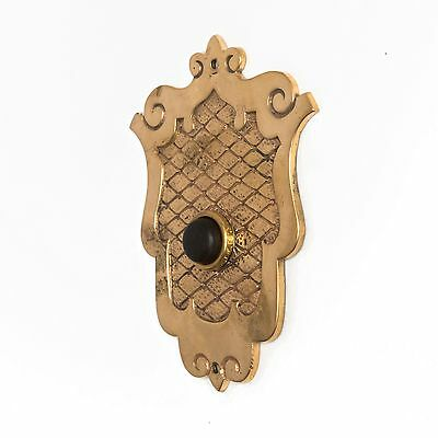 Antique SHIELD PUSH BUTTON DOORBELL COVER Plate Brass Door Bell Electric Vtg