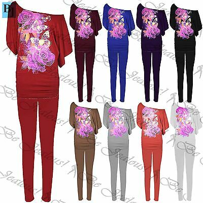 Womens Ladies Rose Butterflies Stud Off Shoulder Bardot Ruched Top Tracksuit