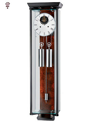 BilliB Amazon Mechanical Wall Clock in Glass, with Single Chime in Black/Walnut
