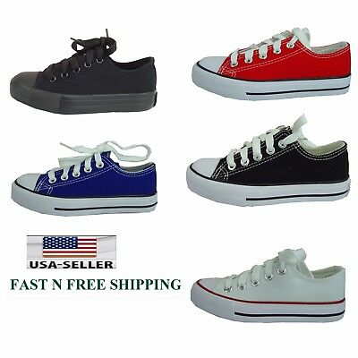 NEW Kid's Girl's & Boy's Lace Canvas Classic Sneaker Skate Casual Athletic Shoes