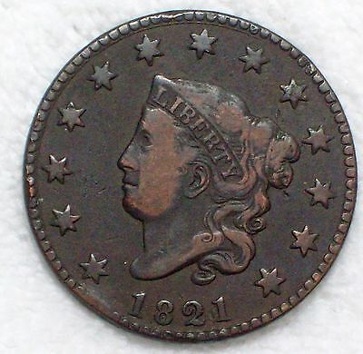 1821 CORONET Large Cent RARE VF 389,000 Minted KEY DATE Coin N-2 NOT CLEANED .01