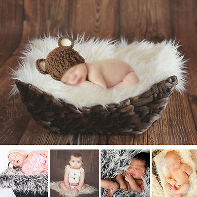 Newborn Baby Girls Boys Fluffy Backdrop Blanket Photo Photography Prop Outfit