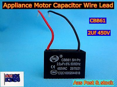 CBB61 Appliance Motor Capacitor Wire Lead 2uF 450VAC 50/60Hz (C592) - Brand New